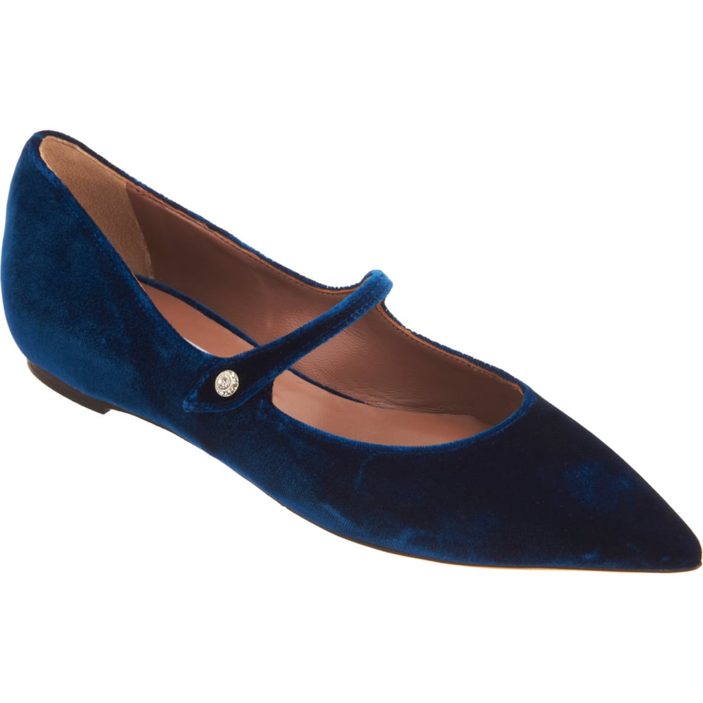 The Mary Jane goes low for Tabitha Simmons with this midnight-blue velvet find ($675).