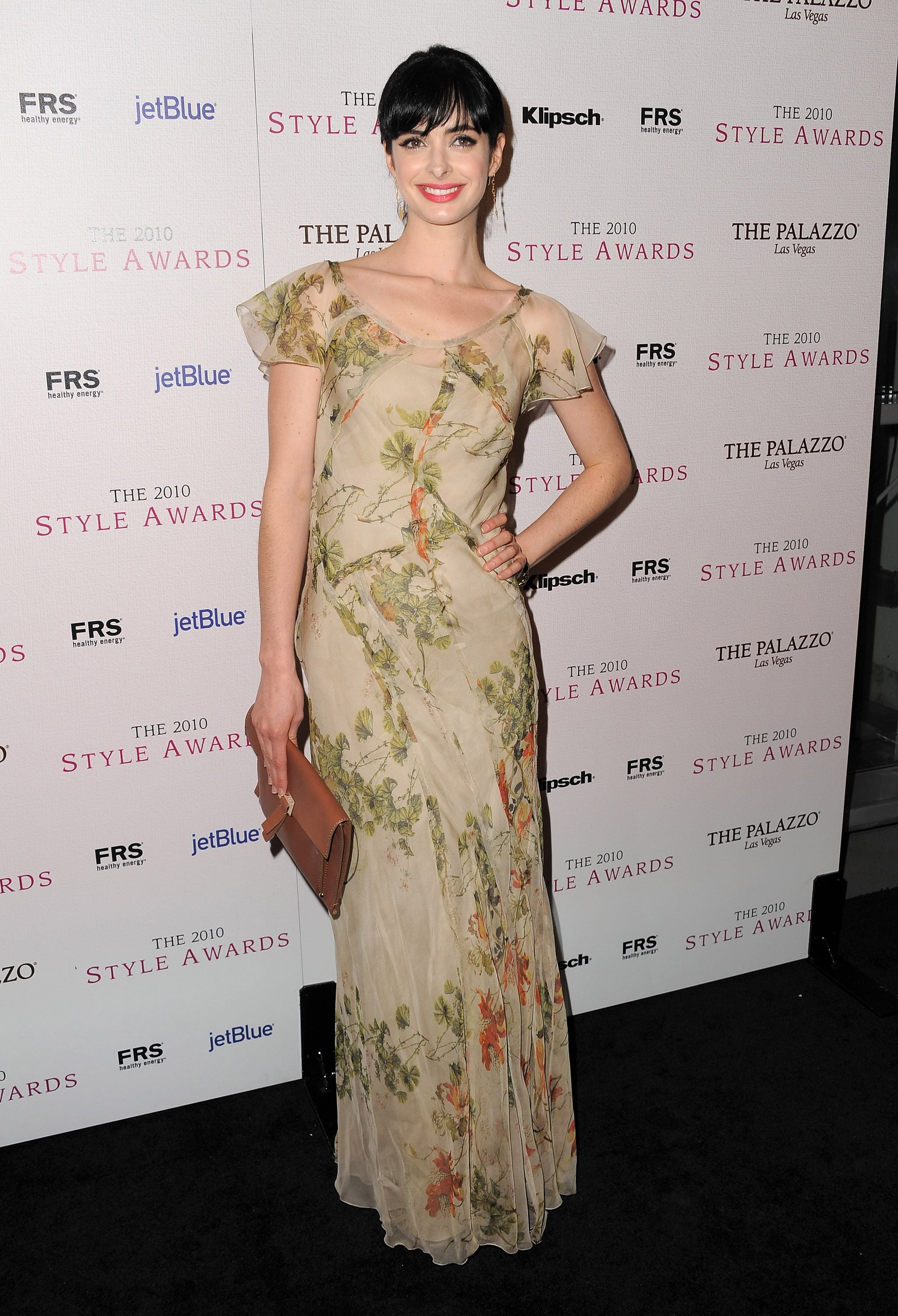 Krysten Ritter went for an ethereal look in a floral print Alberta Ferretti.
