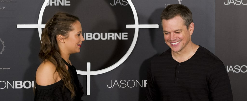 Matt Damon and Alicia Vikander Share a Laugh During the Latest Jason Bourne Press Stop