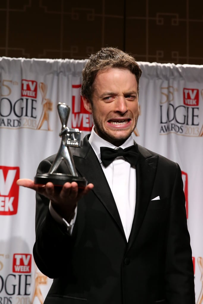 Hamish looked a little scared of his Logie (for most popular presenter) at the 2013 Logies.