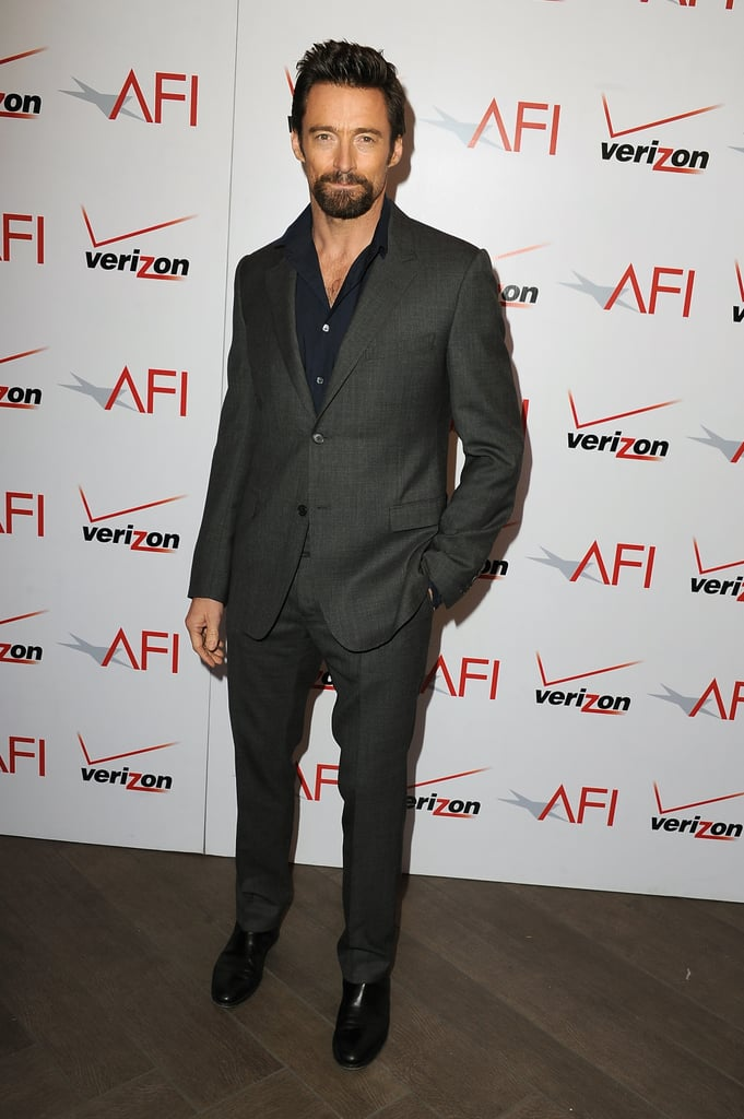 Hugh Jackman suited up in grey for the AFI Awards Luncheon.