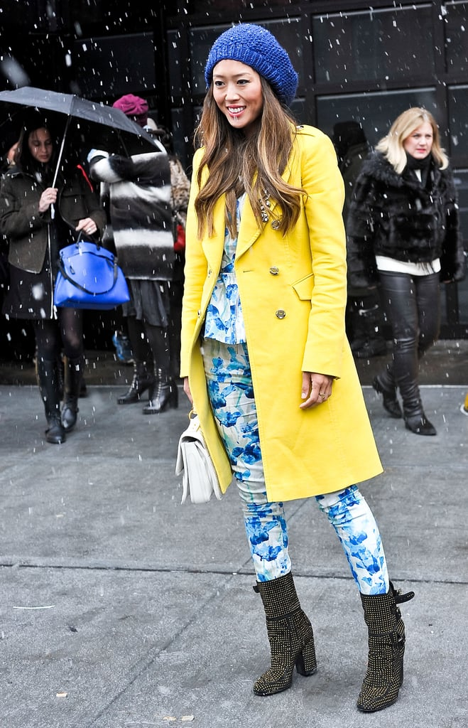 Aimee Song proved that there are no rules when it comes to Winter styling — brights and prints made her look that much more fun.