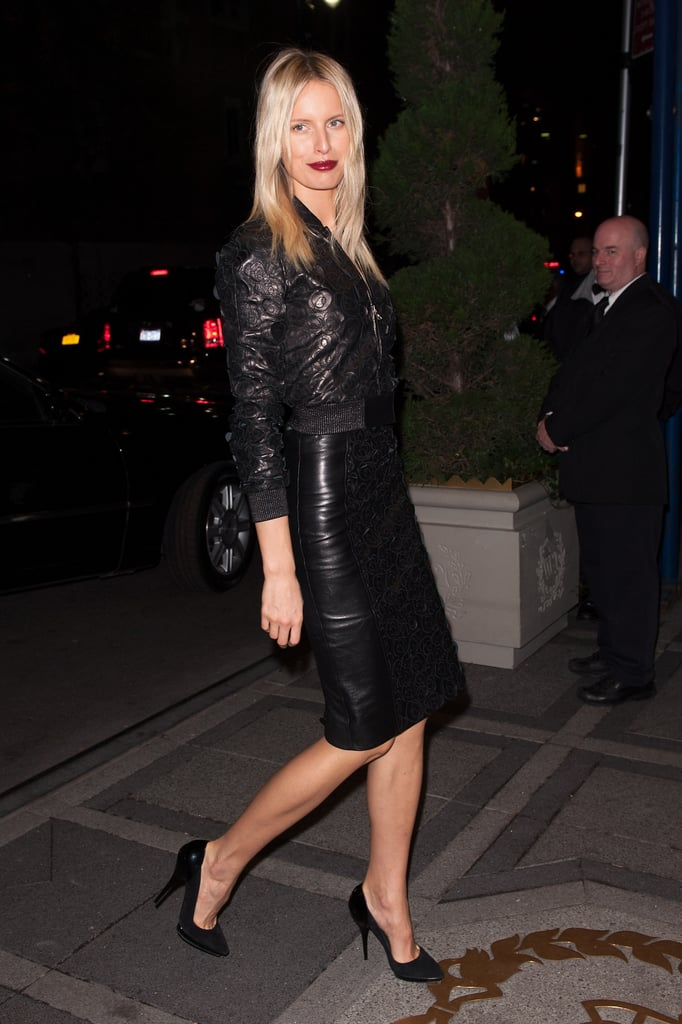 Karolina Kurkova played it sexy and sophisticated in a slick leather pencil skirt and a cropped leather bomber.