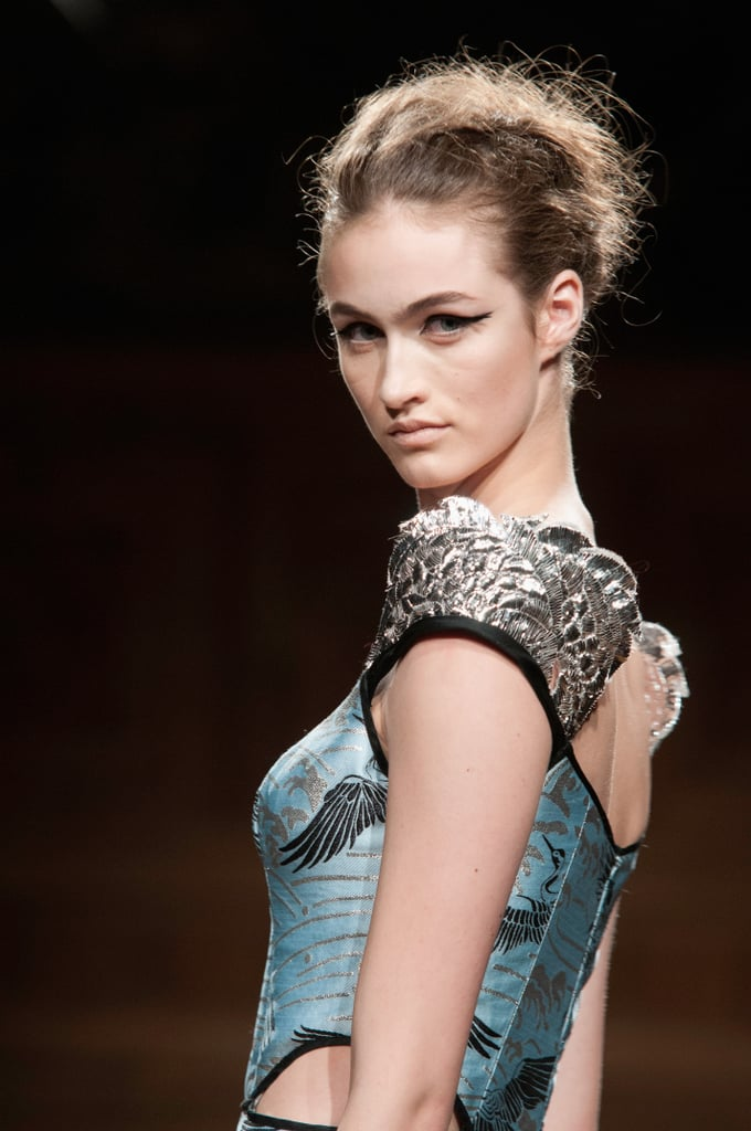 Sculpted sleeves claimed our attention at the Oscar Carvallo Haute Couture Fall 2013 show.