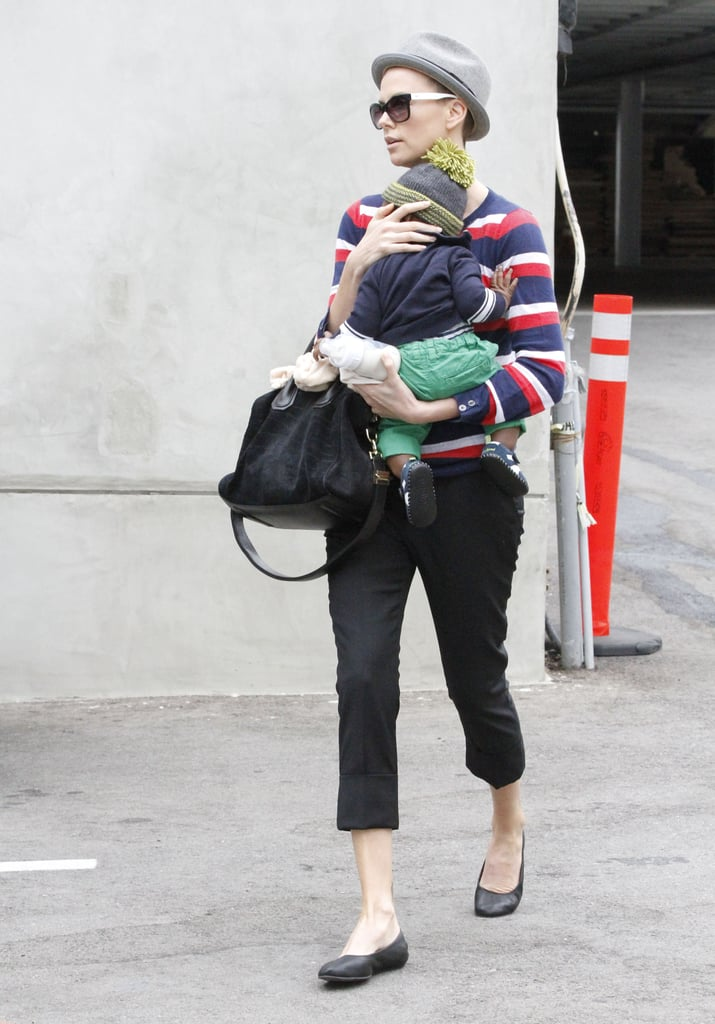 Charlize Theron held baby Jackson close as the two ran errands.