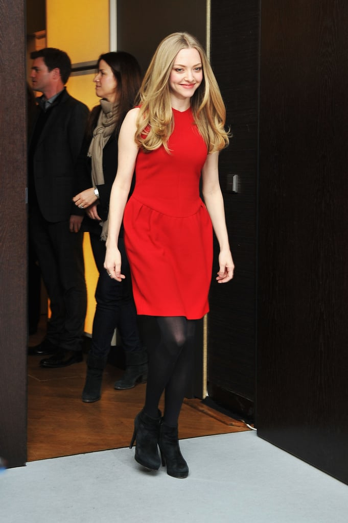 At the Lovelace photocall in Berlin, Amanda Seyfried stood out in a bright red dress by Roksanda Ilincic.
