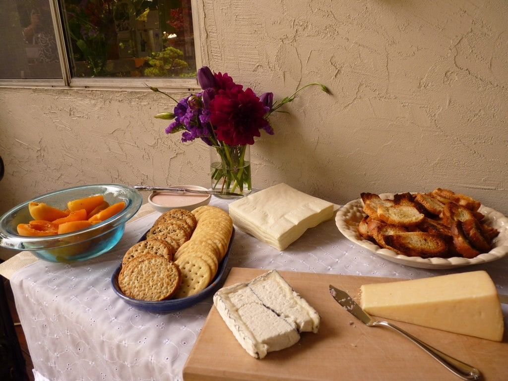 On the other side of the cheese table we have classic parmesan and Humboldt Fog goat cheese paired with fresh apricot halves and crostini.