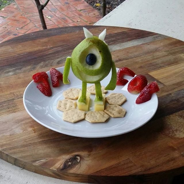 Mike Wazowski pear and cheese snack.
