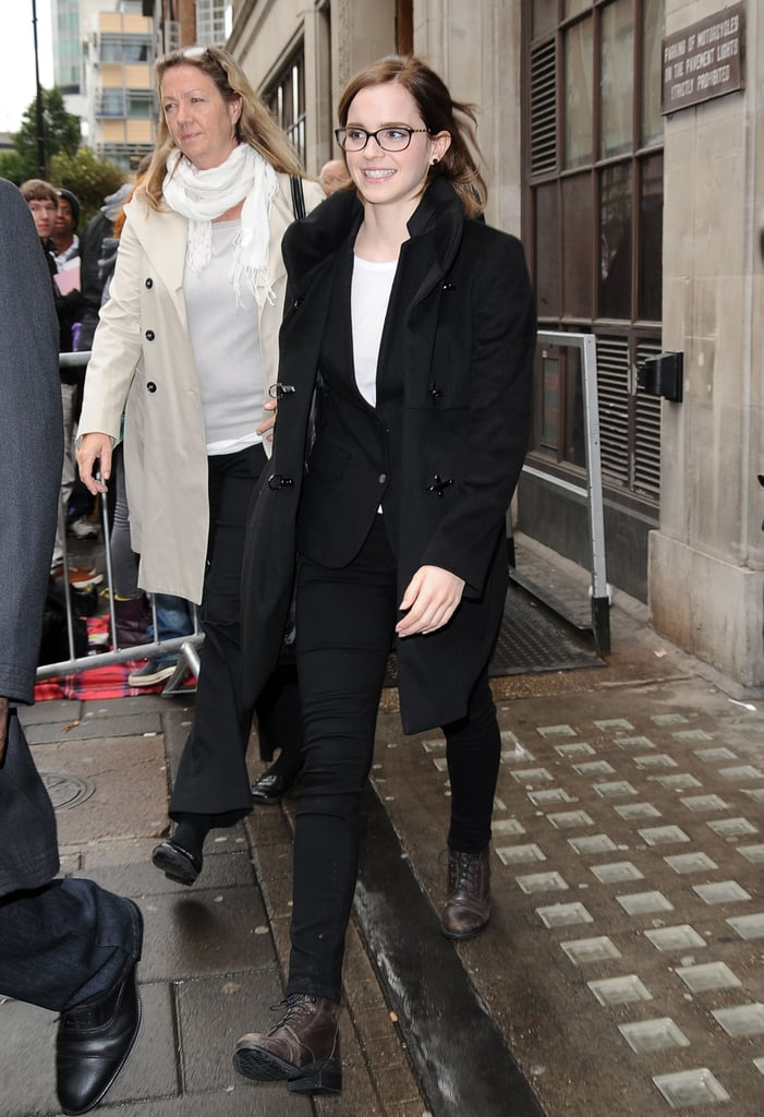 Emma Watson had a smile on her face to visit BBC Radio in London.