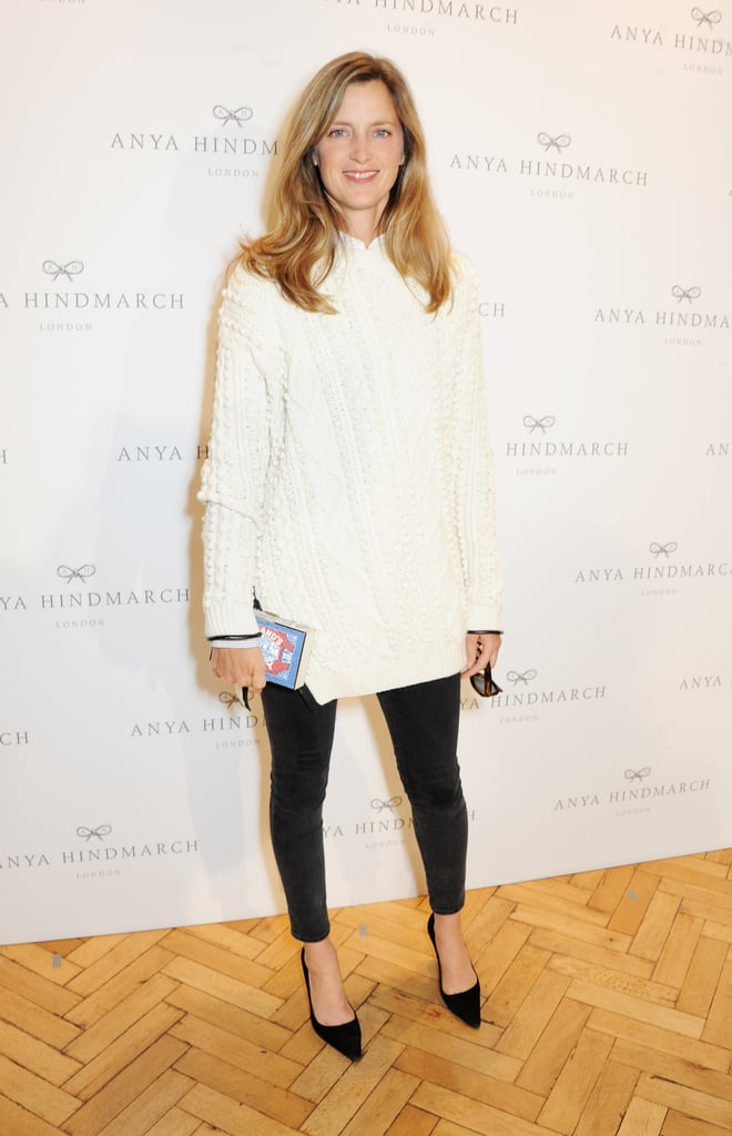 Amanda Brooks kept it causal at the Anya Hindmarch runway show.