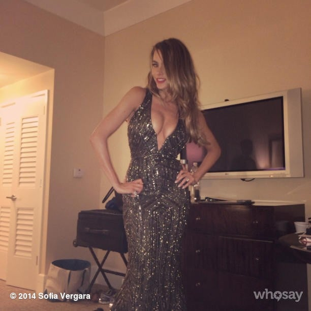 "Sofia Vergara slipped into some sequins for the afterparties, saying she felt ""so J. Lo."" Source: Instagram user sofiavergara"