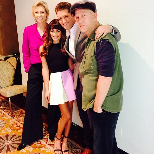 Lea Michele linked up with her Glee costars Jane Lynch and Matthew Morrison and the show's producer Ryan Murphy for the show's panel. Source: Instagram user msleamichele
