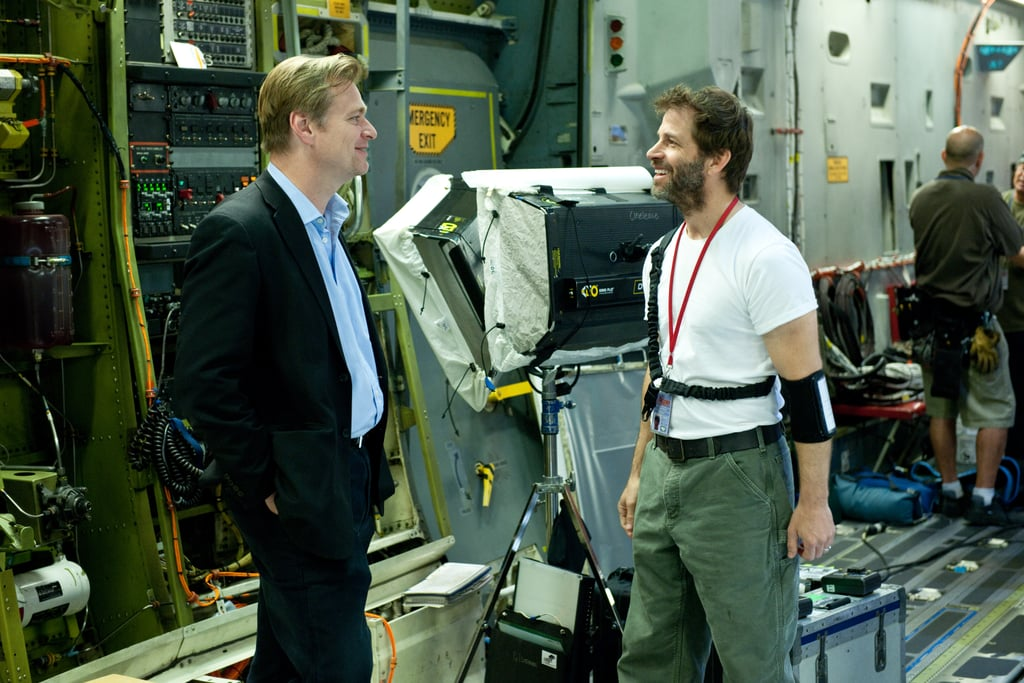 Producer Christopher Nolan and director Zack Snyder on the set of Man of Steel.