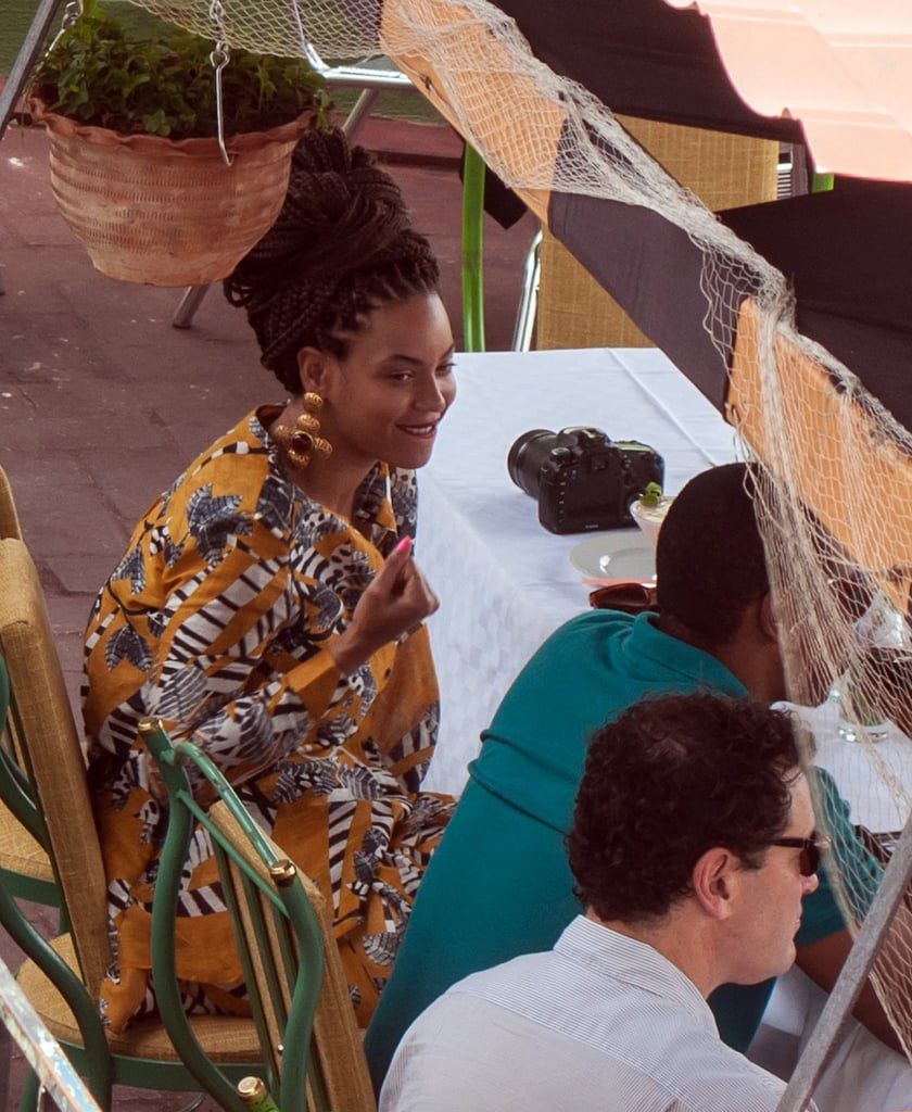 Beyoncé got print happy in a collarless blouse and matching shorts, both by Thakoon Addition, complete with large statement earrings, while grabbing lunch with Jay Z in Havana, Cuba.