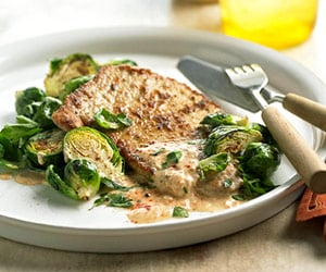 Pork Cutlets With Brussels Sprouts Recipe