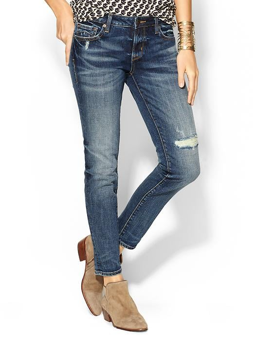 """Just when I think I have enough jeans to last me a lifetime, I find a pair that makes me reconsider! Distressed but not too shredded, the perfect fabric weight for transitional weather, and the right length on my 34-inch inseam legs — I may indeed have to find shelf space for the D-ID """"Florence"""" ankle skinny jeans ($178). — MLG"""