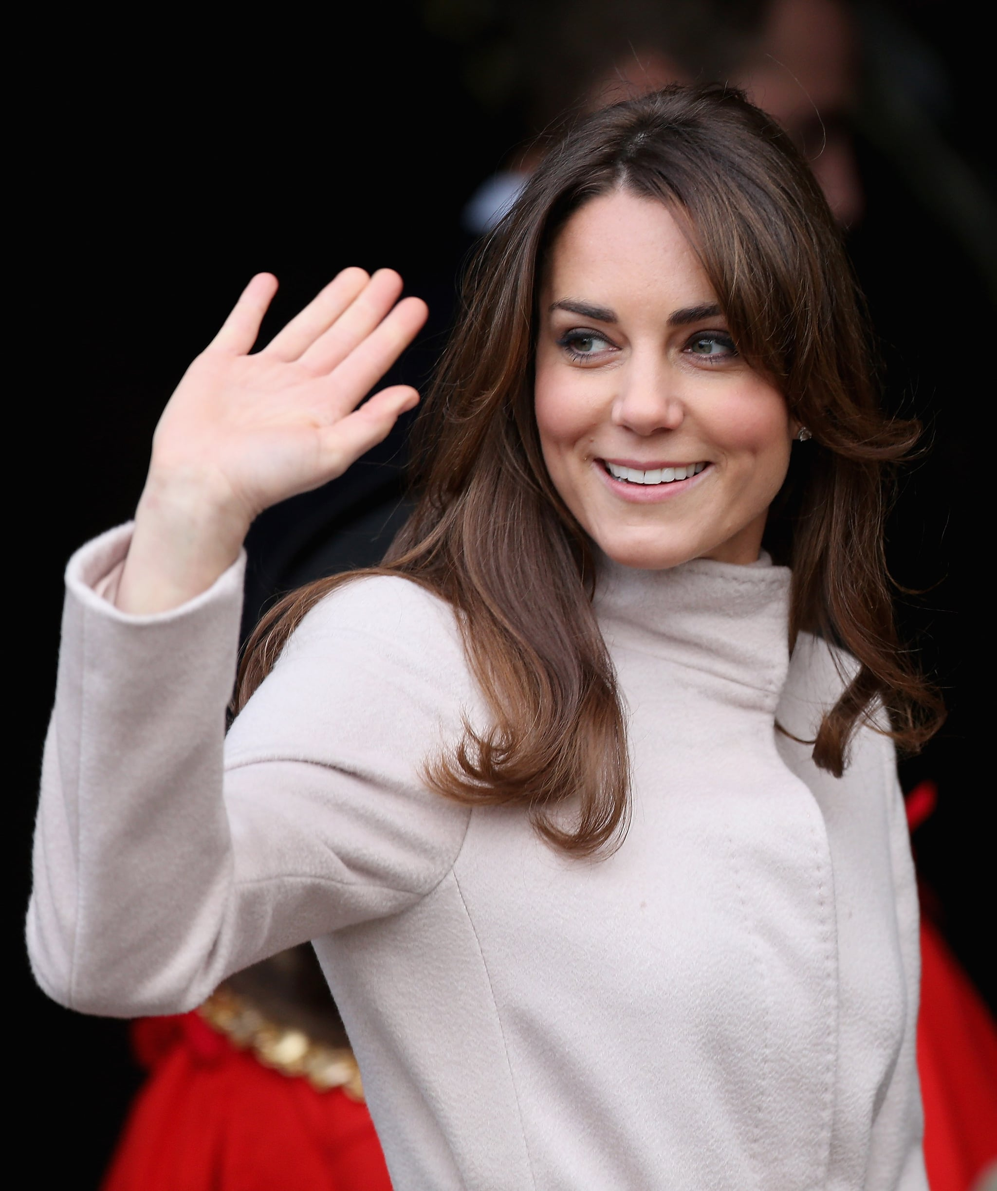 Kate Middleton gave a wave in Cambridge.