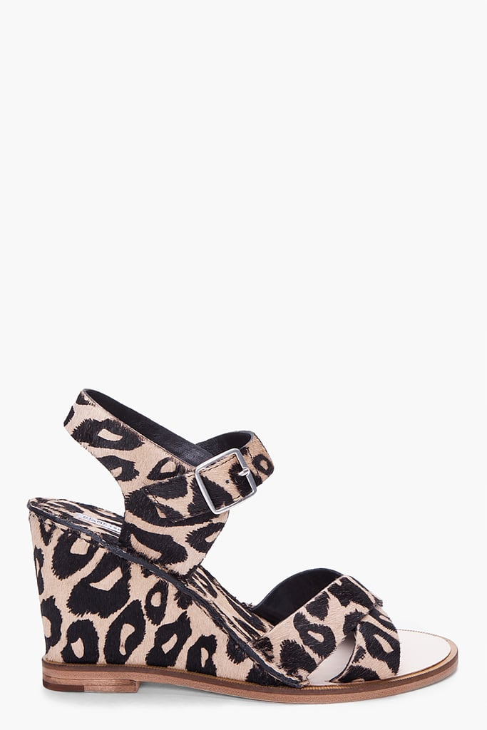 Just because florals are big doesn't mean there's no place for leopard print.  Diane Von Furstenberg Dagga Leopard Pony Haircalf Wedges ($300)