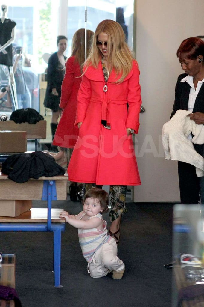 Skyler played in Resurrection boutique while Rachel Zoe shopped.