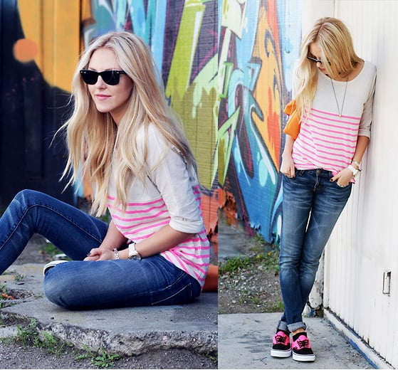 Maybe the most wearable way to get a dose of the trend — with a slouchy striped tee and neon-injected kicks.  Photo courtesy of Lookbook.nu