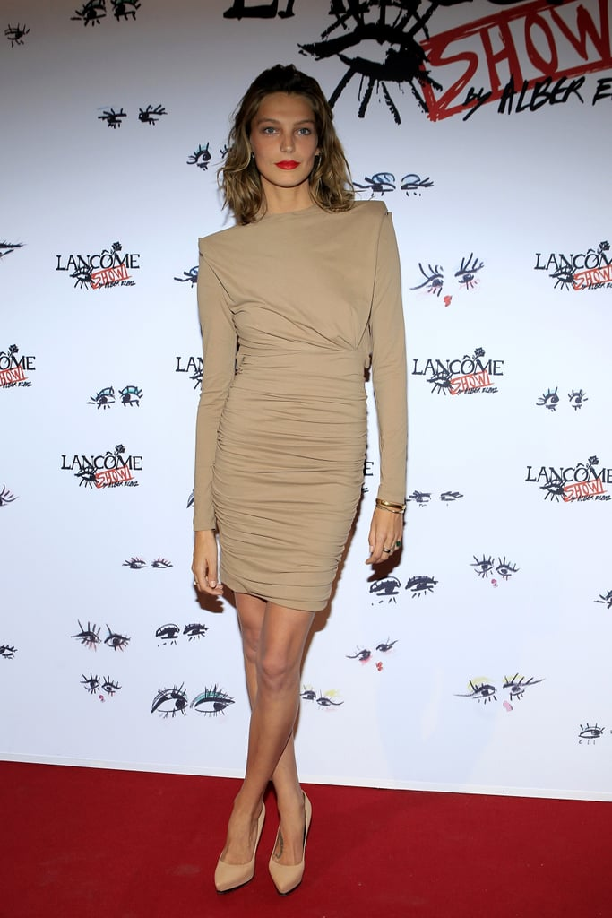 Neutral was anything but bland when Daria Werbowy stepped out in her monochromatic pairing. Source:  Stéphane Feugère for Lancome