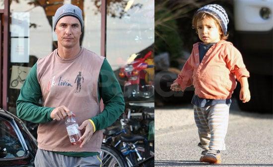 Photos of Matthew McConaughey Leaving a LA Gym; Levi McConaughey Out in a Walk
