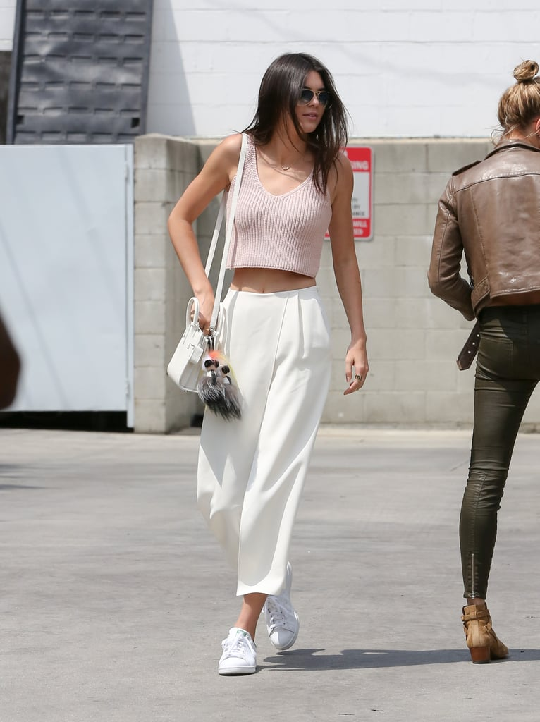 Kendall Jenner chose to wear a pair of crisp culottes with her pink crop top while out in LA.