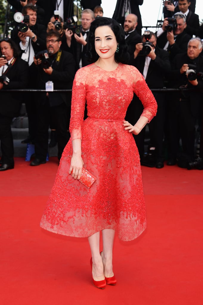 Dita Von Teese in Elie Saab at the Cannes premiere of Cleopatra.