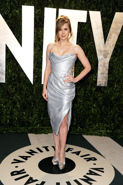 Amy Adams looked vampy in a sculptural strapless metallic gown by Vivienne Westwood.