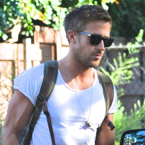 Ryan Gosling Showing His Muscles in a Tight T-Shirt Pictures