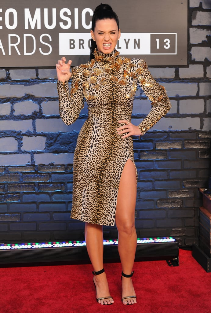 Katy wore a leopard dress with a thigh-high slit for the MTV VMAs in Brooklyn in August 2013.