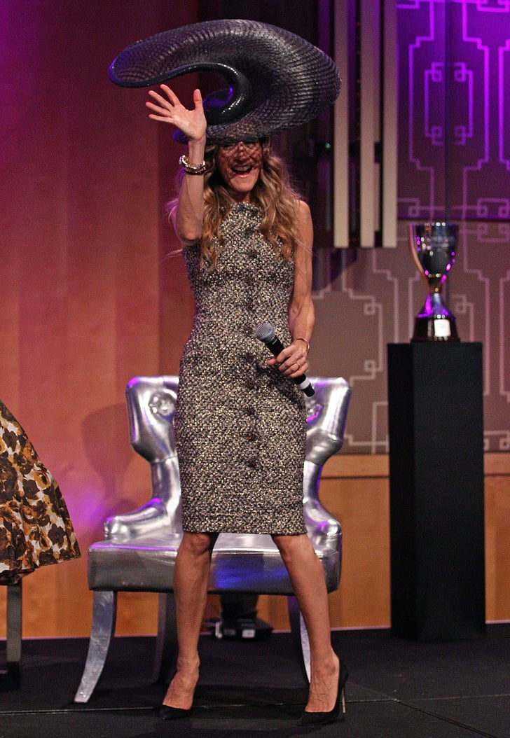 Sarah Jessica Parker wearing a hat by Philip Treacy.