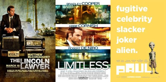 Which New Movie Will You See This Weekend — Limitless, The Lincoln Lawyer, or Paul?