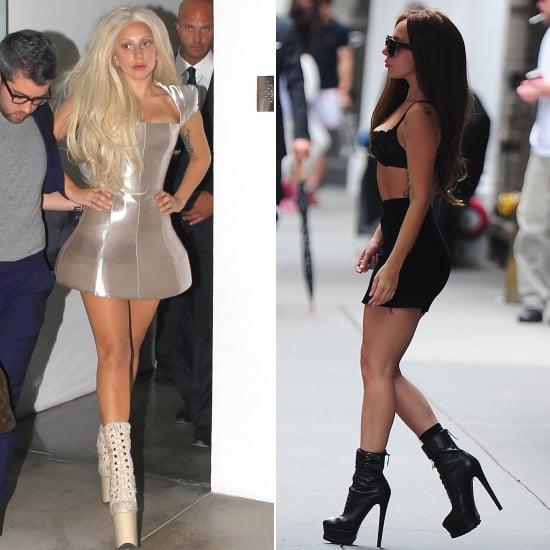 Lady Gaga in Black Bra Top