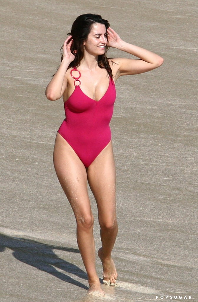 Penélope channeled a Baywatch beauty in a red one-piece suit while hitting the beaches of St. Barts in December 2006.