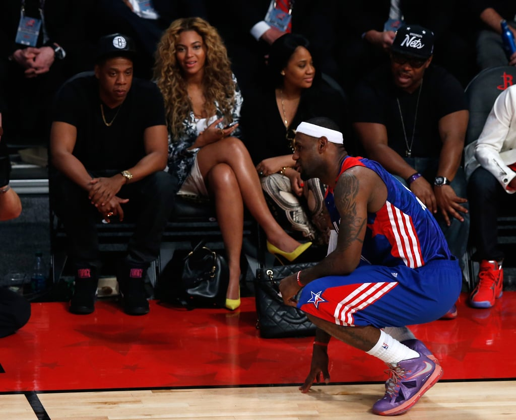 Beyoncé Knowles and Jay-Z were courtside.
