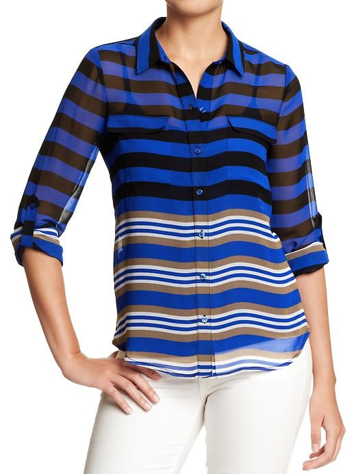 This sleek, slightly sheer Old Navy Button-Front Crepe Blouse ($30) is totally on trend and works well for both day and night.