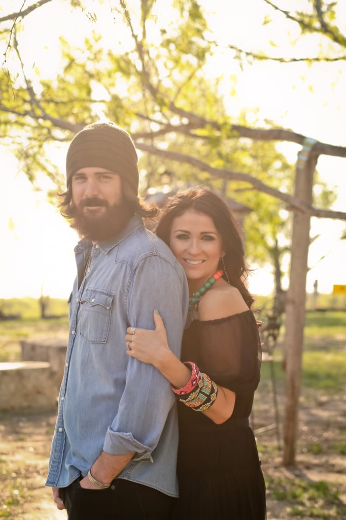 """How would you describe your wedding's theme and vision? """"Our wedding is in July in Gruene, TX. Our theme fits us perfectly, it is a boho-hippie wedding. I explain it to most like this: imagine going and picking flowers in a field of wildflowers and then sitting down at your grandmother's table. I will have pink, yellow, orange, green, and purple flowers with a boho-vintage flair. The bridal party will all be wearing ivory lace dresses. The groomsmen will have tweed slacks, blue vests, and bow ties. In a nutshell, it will be a simple, fun, Summer party."""" Photo by Studio Eleven Photography"""