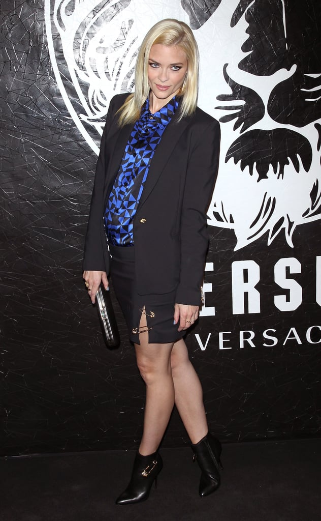 At the Versus Versace launch party in NYC in May, Jaime covered up with a blue and black printed blouse but maintained her sexiness via a black miniskirt with a side slit and safety pin details. Follow Jaime's lead and put your gorgeous legs on display while keeping the mystery up top.