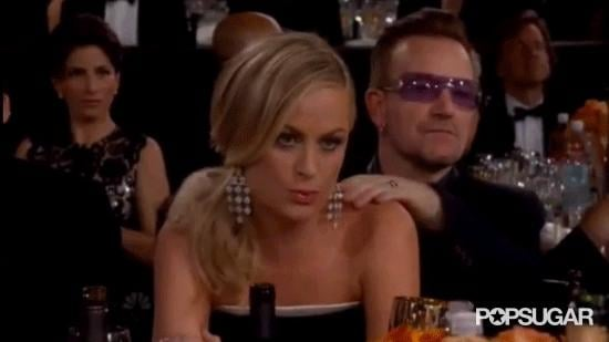 Amy Poehler Gets a Massage During Her Globe Category