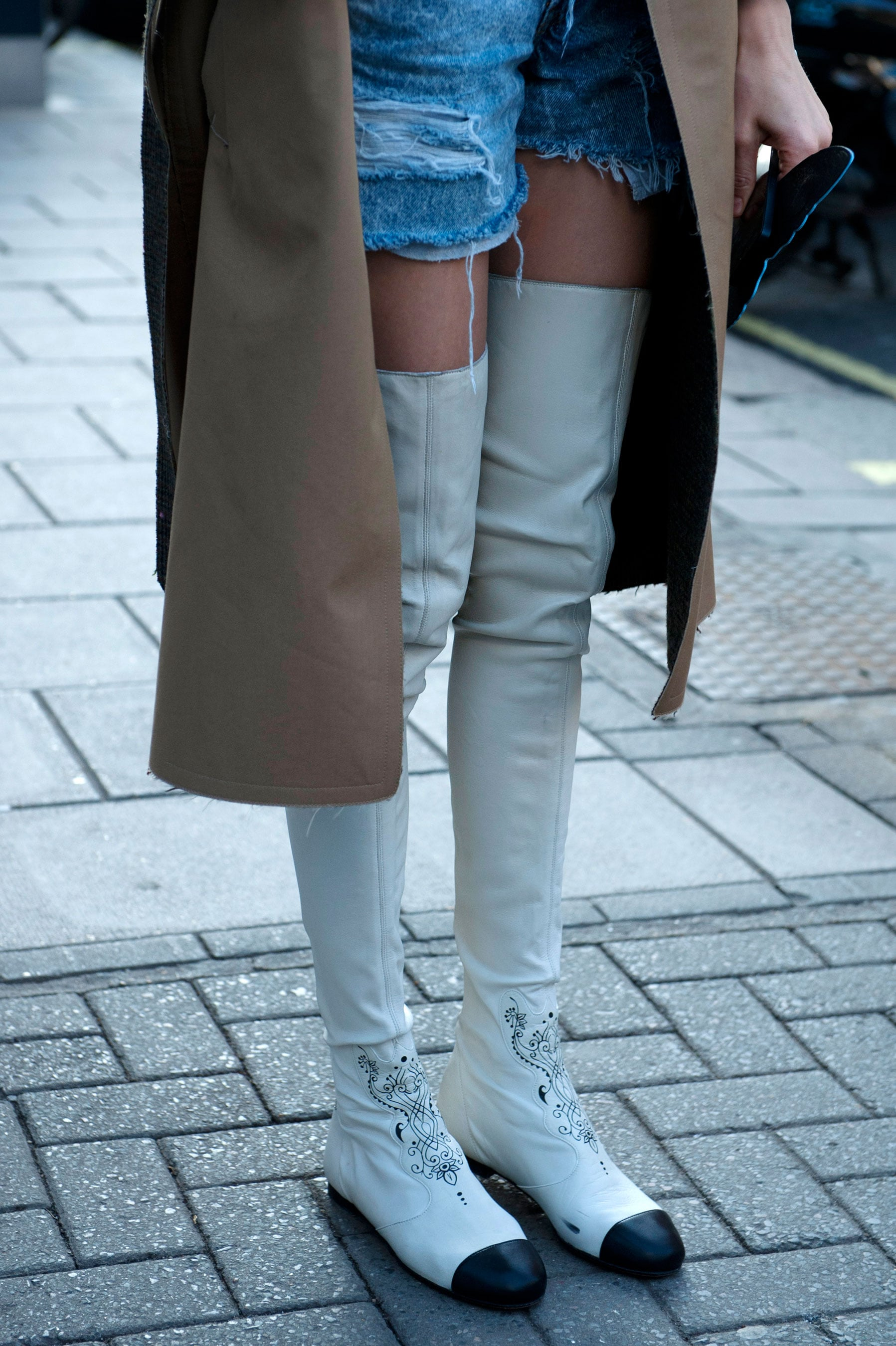 Would you dare to wear these thigh-high cap-toe boots?