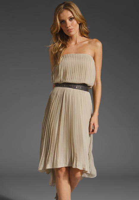 A soft staple that you could re-work for day with flat sandals.  MM Couture by Miss Me Asymmetric Pleated Dress (approx $93)