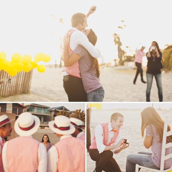 This cute beachside proposal was sung by the groom-to-be in his barbershop quartet. Photos by Tyler Branch Photography via Green Wedding Shoes
