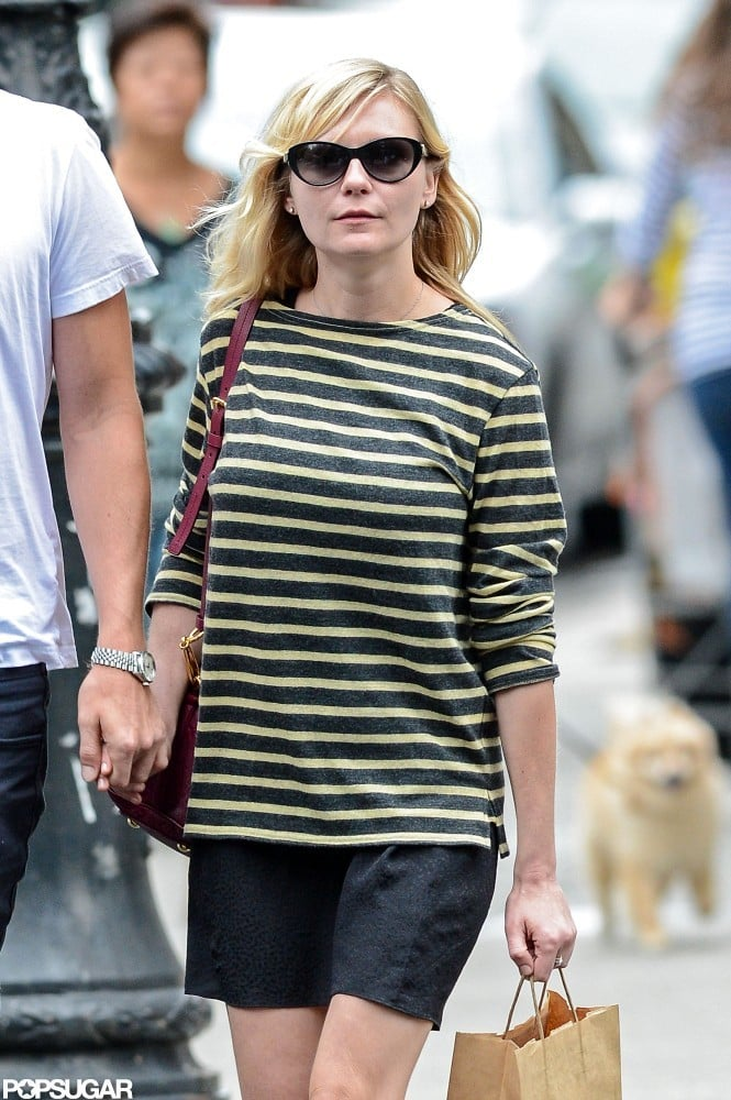 Kirsten Dunst wore a striped dress out in NYC.