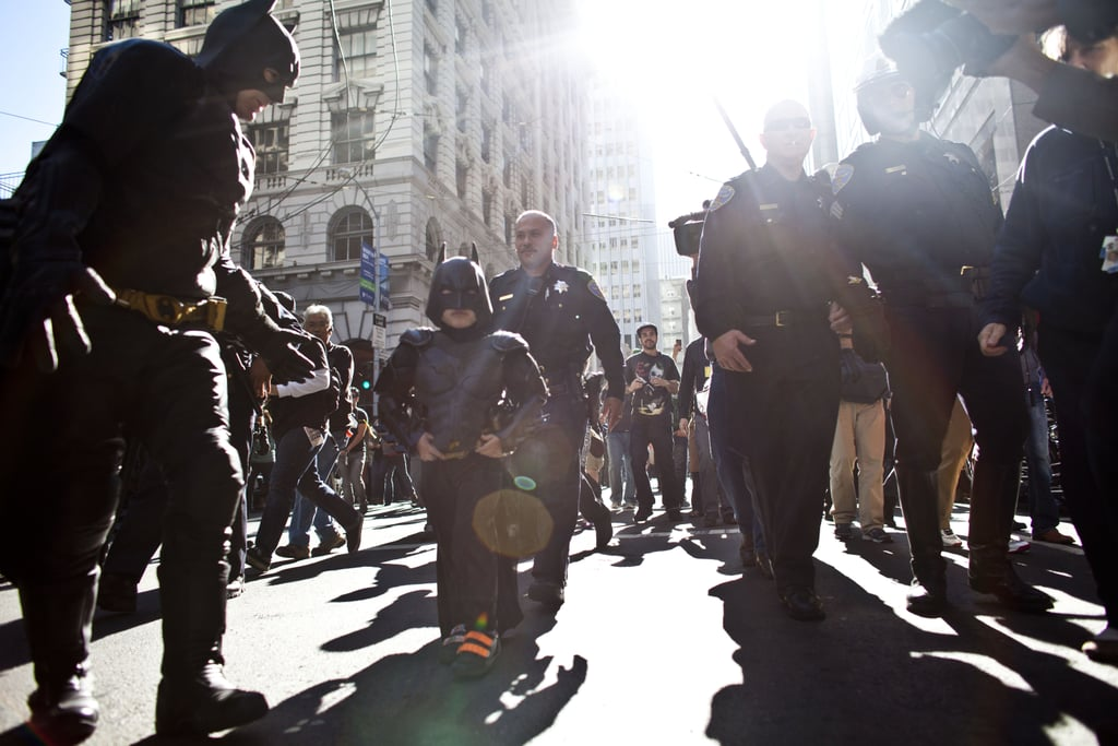 Batkid drew crowds as he walked through the streets to save the day.