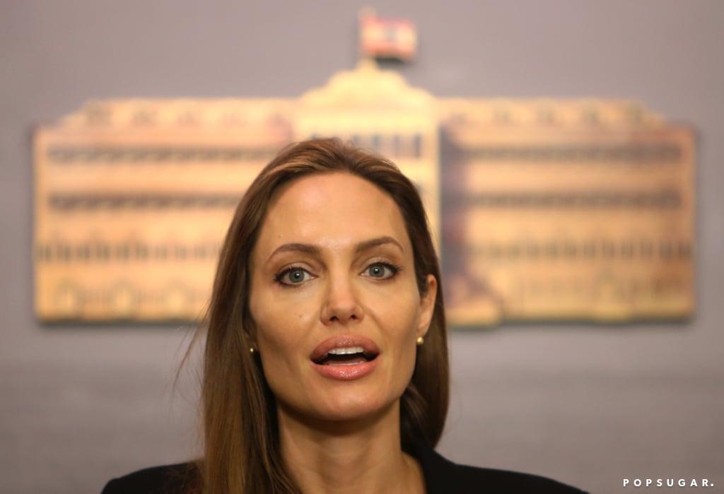 Angelina Jolie gave a speech in Beirut.