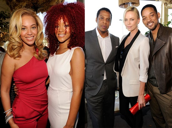 Ryan Phillippe, Jay-Z, Beyonce Knowles, Charlize Theron, Rihanna, and Will Smith at a Pre Grammys Brunch