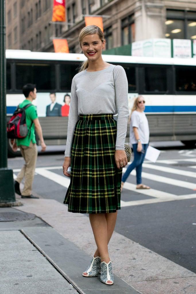 A schoolgirl-inspired look, with not-so-schoolgirl-inspired footwear.