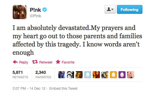 Regarding the Connecticut shooting tragedy, Pink puts it perfectly.