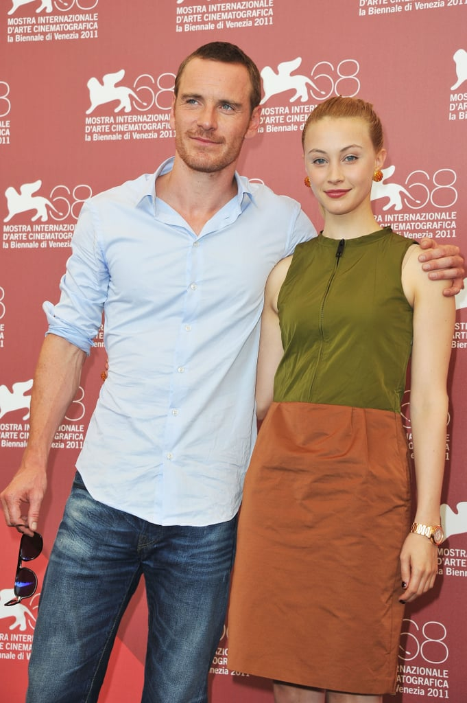 Costars Michael Fassbender and Sarah Gadon posed at the premiere of A Dangerous Method.